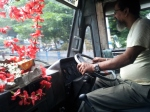 Flowers in a bus