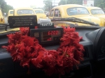 Flowers in a taxi