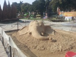 Ganesh's head made out of sand