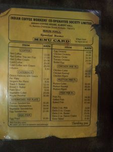 Front side of the menu at Indian Coffee House