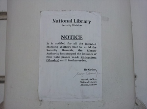 A notice in front of the National Library of India