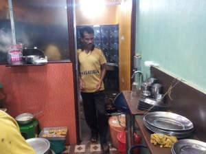 The cook leaving the kitchen at Barcode in Kolkata