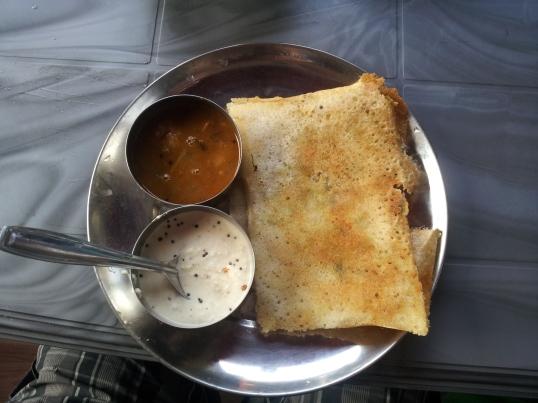 Dosa (folded) with coconut chutney and sambar