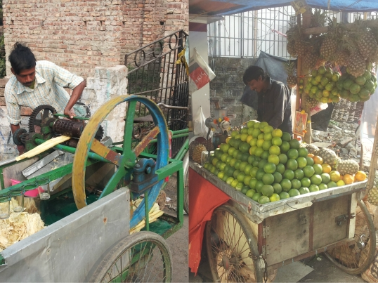 Sugarcane and fruit juice vendors on the streets of Kolkata