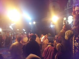 An evening ritual performed by Krishna devotees