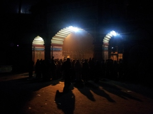 People waiting to get into ISKCON at 4 AM