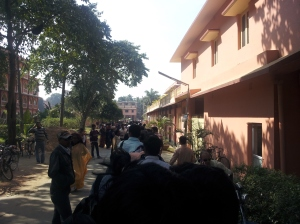A queue for lunch at ISKCON