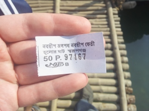 A ticket for the ferry from Nabadwip to Mayapur